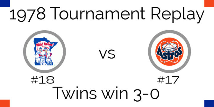1978 Tournament Results – Twins sweep Astros 3-0