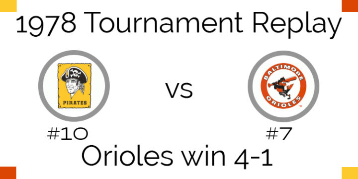 1978 Tournament Results – Orioles beat Pirates 4-1