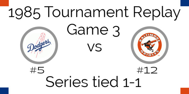 Game 3 – 1985 Tournament Replay Dodgers vs Orioles